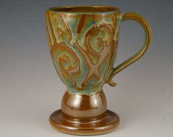 Pottery Mug - Goblet Style Stoneware Mug - Wheel thrown and Altered -Unique Coffee Cup in Ornate Bronze Shino and Blue Design