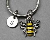 Bee keychain, bee charm, bumble bee, personalized keychain, initial keychain, initial charm, customized keychain, monogram, initial keyring