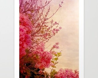 Pink lilacs art print- flower photography- pink- lilacs- dreamy photo- pretty home decor- vintage look- home decor-wall art