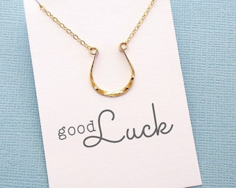Birthday Gift | Horseshoe Necklace | Bridesmaid Jewelry | Bridesmaid Necklace | Good Luck | Sentiment Card | Silver, Gold or Rose Gold | X08