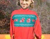 vintage 80s sweatshirt SANTA claus cartwheel wtf christmas xmas crazy sweater stripe Large Medium holiday
