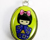 Japanese Geisha Necklace - Green