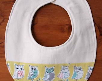 Owl Baby Bib; Yellow Teething Bib; Modern Drool Bib; Organic Cotton Bib for Newborn Baby Girl or Boy; Handmade Baby Shower Gift; Hootenanny