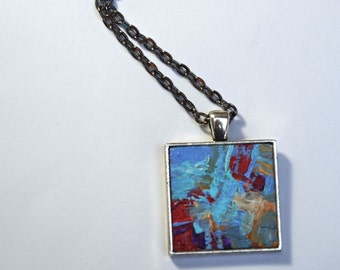 Miniature Acrylic Painting, Pendant Necklace, Original Painting, Abstract Art, Painting, Wearable Art, Handpainted, Pendant, Blue, Red