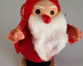 Vintage Spun Cotton Santa Claus Ornament Holiday Decor