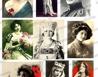 Victorian Edwadian Women digital collage sheet vintage photo graphics antique images No.153