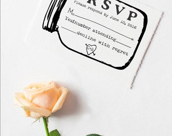 "Clear Block 3x5"" RSVP rubber stamp for custom DIY wedding invitations Mason jar --5687"