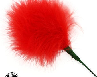 1 - Red - Feather Pom Pom Pick - Marabou - Ostrich Feather Pick - Poof - Millinery Feather - Bouquet Pick