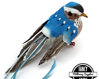 1 - Blue - Artificial Bird Craft Bird - Mushroom Bird - Fake Bird - Feathers - Millinery