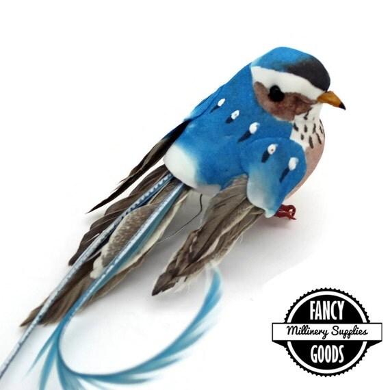 1 blue artificial bird craft bird mushroom bird by fancygoods for Fake birds for crafts