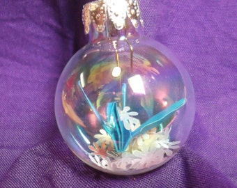 "Origami Crane and Blossoms in a Ball - 1.4"" Christmas Ornament - choose color"