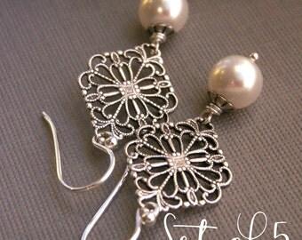 Bridesmaid earrings, set of (5) five pearl earrings, sterling silver, filigree earrings, vintage inspired, white pearls, bridesmaid gift,