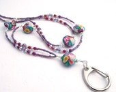 Beaded ID Badge Lanyard, Flower Polymer Clay Beads in Purple and Pink