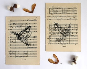 Wren Prints Set of 2 Gocco Printed Bird Prints on Vintage Music