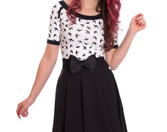 MIA_39 Rockabilly Raglan Shirt WHITE SWALLOWS