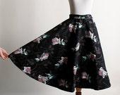 Vintage 1950s Full Circle Skirt - Dark Floral Print Cotton Skirt -