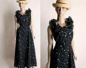 Vintage 1970s Maxi Dress - Black and White Polka Dot Floor Length Ruffle Dress - Small Medium
