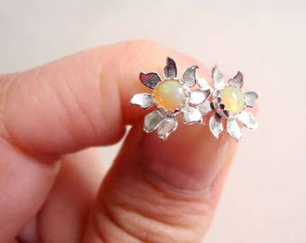 Opal Earring Studs, Flower Opal Earrings, Sterling Silver Jewelry, Birthstone Earrings, Flower Studs, Sterling Silver Hypoallergenic (E275)