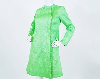 French Designer 1960's Vintage Mod Lime Green Gold Metallic Threading Quilted Satin Spring Coat