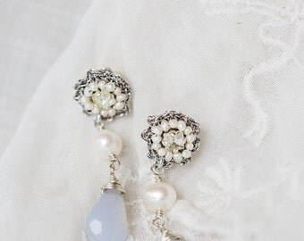 "As Seen on Reign | Small Bridal Stud Earrings | Pearl, Crystal & Lace Wedding Drop Earrings | Vintage Inspired, Edwardian | ""Fleurette"""