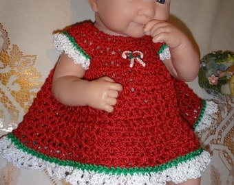 Crochet clothes outfit for 14 inch Baby Doll La Newborn Dress Set Red White Candy Canes