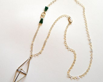 Long Silver Green Necklace / Long Silver Geometric Necklace Statement Necklace / Long Sterling Silver Necklace with Green Jasper Gemstones