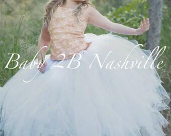 Rose Gold Dress Lace Dress Flower Girl Dress Tulle Dress Wedding Dress Party Dress Birthday Dress White Tutu Dress Toddler Tutu  Girls Dress