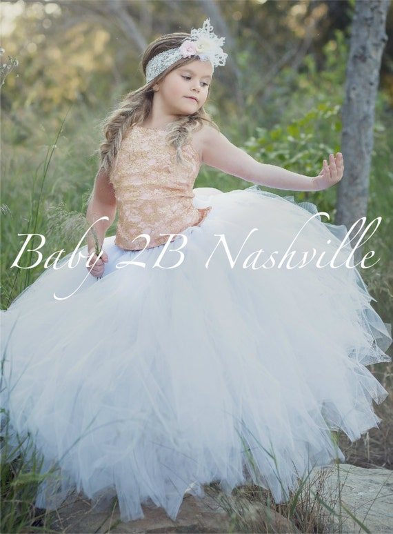 Rose Gold Dress Lace Dress Flower Girl Dress Tulle Dress Wedding Dress Party Dress Birthday Dress White Tutu Dress Toddler Tutu  Girls Dress