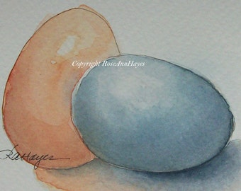 Original Watercolor Painting Eggs Kitchen Art Housewarming Gift Still Life ACEO