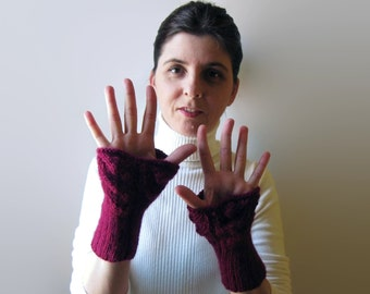 Lace Burgundy Gloves, Fingerless Gloves, Knit Arm Warmers, Gift for Women, Lace Cuffs, Hand Warmers, Gifts for Her, Winter Accessories