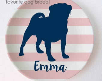 Dog Breed Personalized Melamine Plate - Pug - Doberman - Labrador - Weimaraner - great dane - schnauzer - german shepard - boxer -retriever