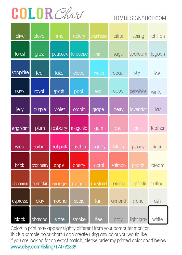 Printed COLOR CHART Sample Print Or Canvas TRM Design Choose