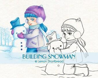 Digital Stamp Winter Building Snowman, Digi Download, Snow, Christmas Girl, Children, Clip Art, Scrapbooking Supplies Card Making