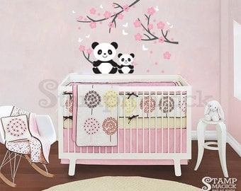 Panda Wall Decal for Baby Nursery - Panda Decal - panda vinyl wall decor sticker cherry blossoms branch chinese bear baby boy girl - K011
