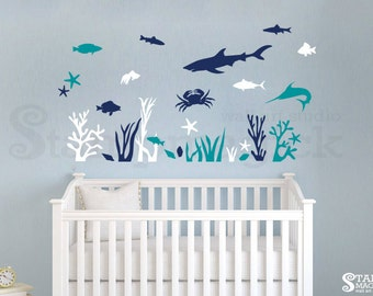 Underwater World Wall Decal For Nursery Baby Room   Fish Sea Ocean Wall  Decal   Scene