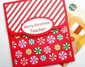 Teacher Christmas Gift Card Holder - Holiday Gift Card Holder - Merry Christmas Cards for Teachers, Teacher Christmas Gift Cards