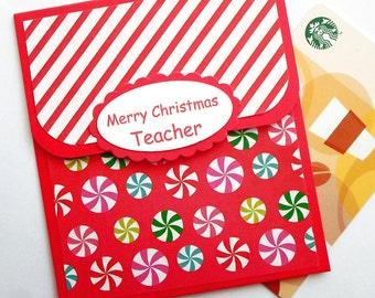 Teacher Christmas Gift Card Holder - Holiday Gift Card Holder - Merry Christmas Cards for Teachers, Teacher Christmas Gift Cards