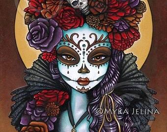 Dalia Canvas Print Signed Dia De Muertos Festival Mictecacihuatl Calaca Sugar Skull