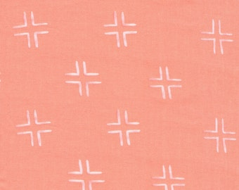 Cloud9 Brush Strokes Trellis Coral Organic Cotton Fabric