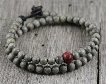 Mens Mala Bracelet, Leather, Wood Beaded, Grey, Red, Yoga Bracelet, Prayer, Surfer, Surf, Eco Friendly, Organic, Boho, Natural Sol Creations