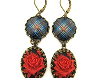 Scottish Tartan Jewelry - Tartans Special Occasion Collection - Royal Stewart Black Clan Tartan Earrings w/Floral Cameos