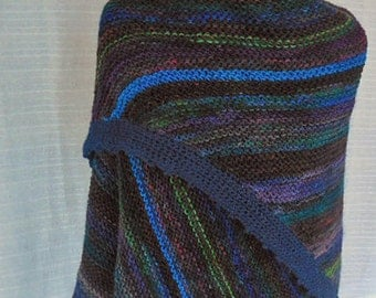 OOAK Handknit Fashion Shawl In Jewel Tones of Blues and Greens With Hand painted Yarns