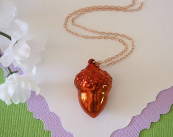 Copper Acorn Necklace, Rose Gold Filled Chain, Real Acorn, Acorn Necklace, Long Layered Sterling Rose Gold Necklace, AC12