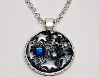 Starry Night Pendant Necklace, Polymer Clay, Handmade