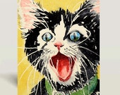 28. Cat Art / Black Cat Art / Watercolor Print / Animal happy kitty poster / Tuxedo cat painting / Kitten illustration / black yellow / C