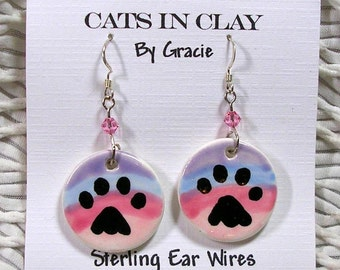 Cat or Dog Paw Prints And Rainbow On  Clay French Wire Earrings Handmade Ceramics
