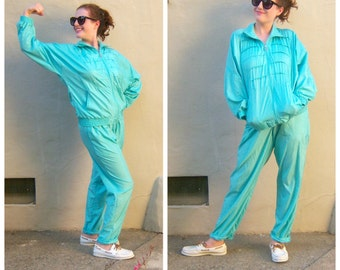 90s Aqua blue track suit / womens windbreaker, warm up suit, track pants / small medium