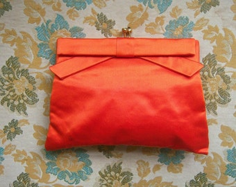 Orange satin clutch purse  / 60s Koret purse / + hand mirror / wedding bridesmaid date purse