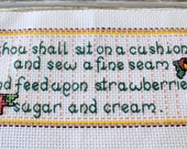 SEW A FINE SEAM, Completed &  Finished Cross stitch, needlepoint, Ready to Use , Counted cross stitch, Ready to frame