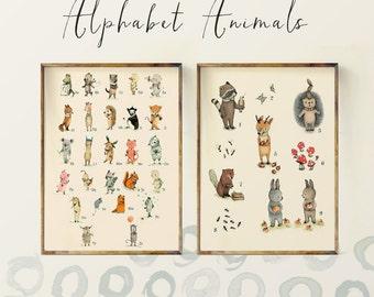 Children's Wall Art Print, Animals Numbers and ABC, Alphabet Poster Set - Nursery art for children